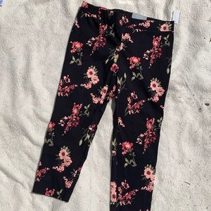 Navy and Pink Floral Straight Leg Pants